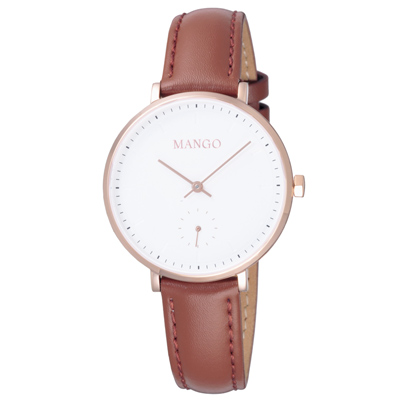 MANGO 簡約皮革時尚腕錶-MA6722L-80R