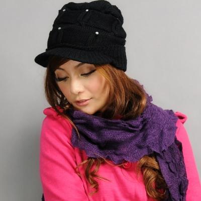 Aimee Toff 蛋糕雪珠浪漫遊學小帽沿(黑)