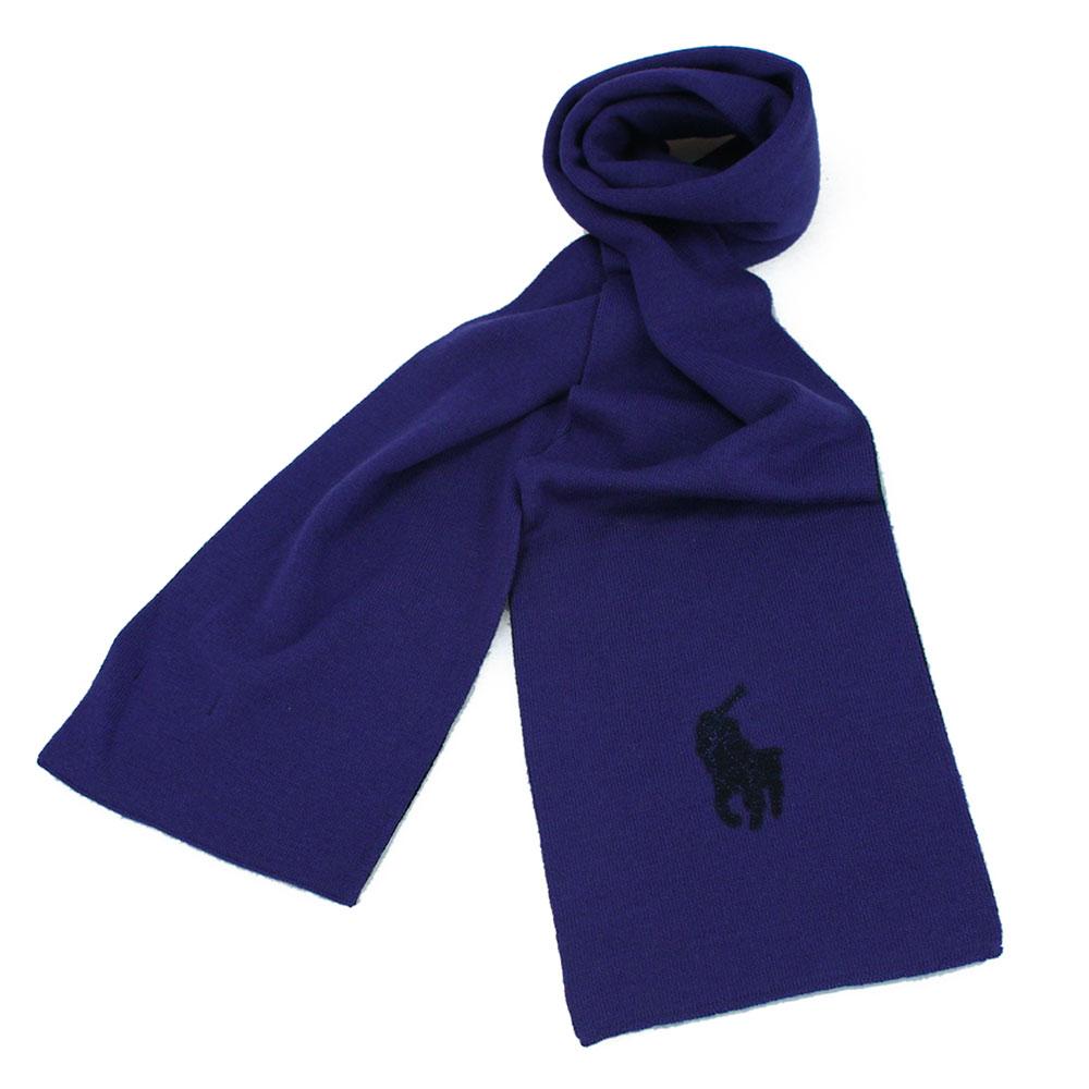RALPH LAUREN POLO 大馬LOGO素面針織羊毛圍巾-藍黑色GUCCI