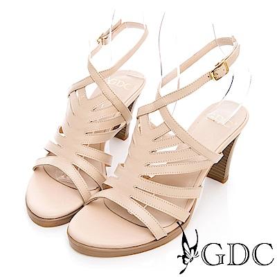 GDC-真皮希臘歐風女神款羅馬繞帶粗跟涼鞋-米色