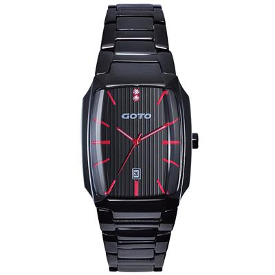 GOTO Laconic時尚腕錶-黑x紅/34mm
