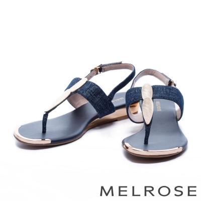 涼鞋 MELROSE 金色羽毛T字麂皮厚底涼鞋-藍
