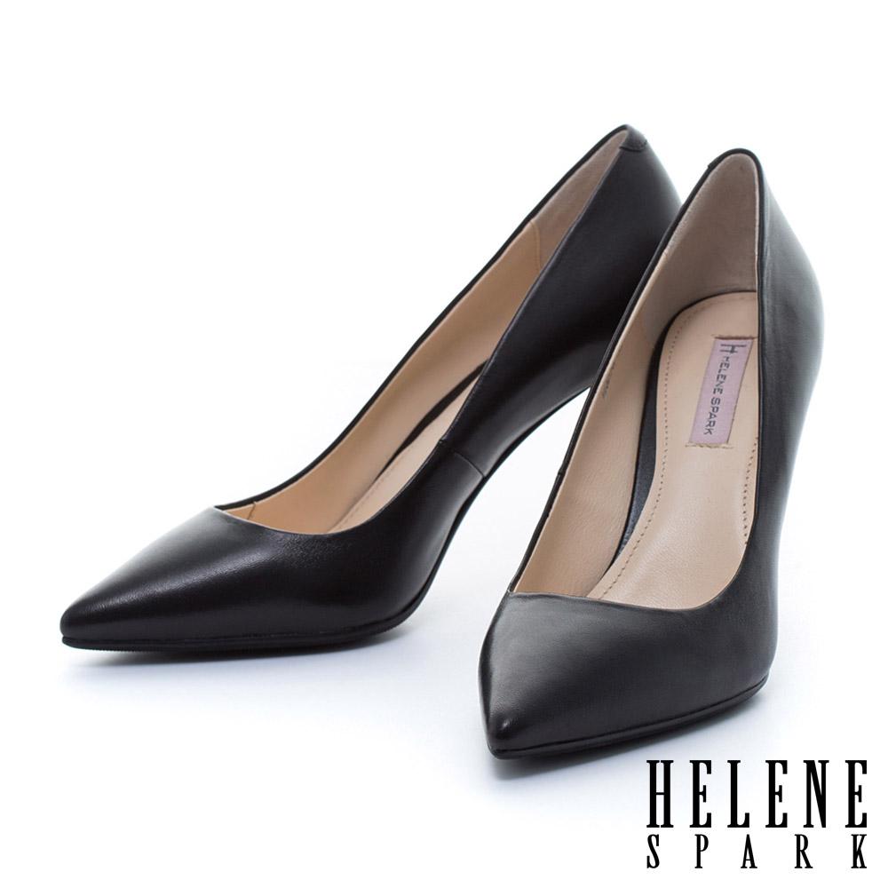 HELENE SPARK 金屬電鍍球跟造型羊皮美型尖頭高跟鞋-黑