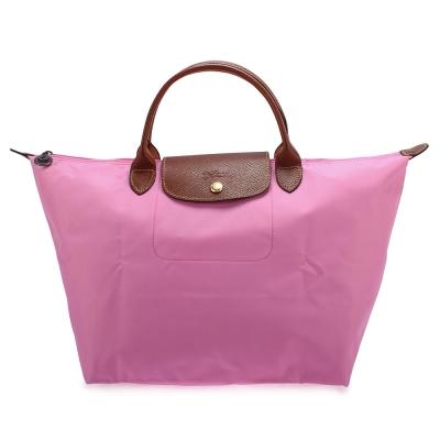 Longchamp 折疊中型短把水餃包-粉紅色