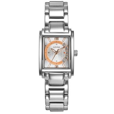 LOVME 旅行時光設計腕錶-銀x玫刻度/23mm