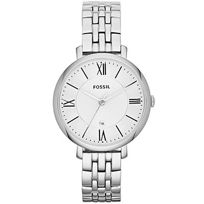FOSSIL Jacqueline羅馬風尚質感仕女腕錶-銀/36mm