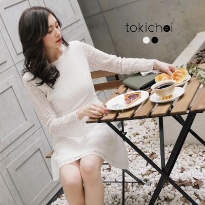 東京著衣 浪漫蕾絲花微透肌洋裝-S.M(共二色)