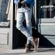 韓式作風 涼秋單品口袋釘釦設計牛仔長褲