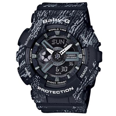 BABY-G霧狀蠟筆紋路設計運動時尚童趣概念休閒錶(BA-110TX-1A)-黑/43.3mm