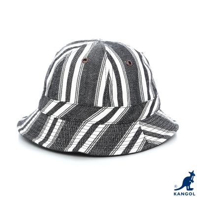 KANGOL-英國袋鼠-街頭系列-時尚條紋丹寧牛仔鐘型帽-牛仔色
