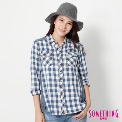 SOMETHING 拼接丹寧格紋長袖襯衫-女-藍色