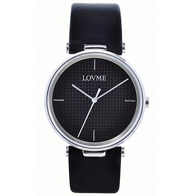 LOVME 簡約時尚菱格紋腕錶-黑/40mm