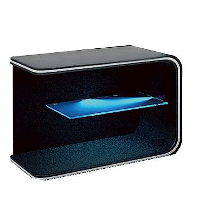 品家居 艾葛1.7尺皮革LED床頭櫃(二色可選)-50x45x44cm-免組