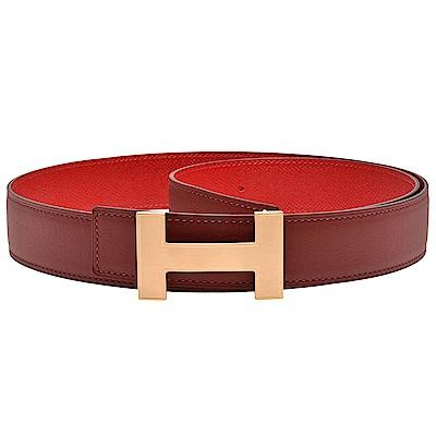 HERMES 經典金色H LOGO雙面兩穿小牛皮腰帶/皮帶(紅X酒紅-95cm)