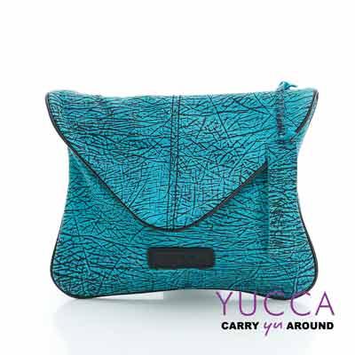 YUCCA - 牛皮新潮個性手拿斜背包-藍綠色- D0121045