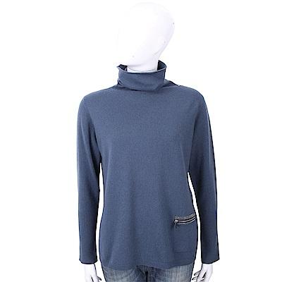 FABIANA FILIPPI 坑條細節灰藍色高領美麗諾羊毛衫