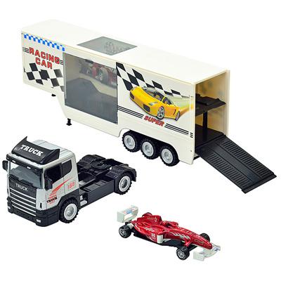 《Racing Car》合金材質磨輪運輸聯結卡車 附贈F1模型小賽車