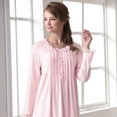 羅絲美睡衣 - 保養系列長袖洋裝睡衣(淺粉色)