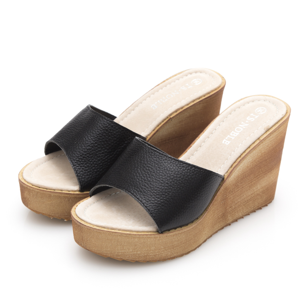 JMS-日系小清新寬版牛皮厚底楔型涼鞋-黑色