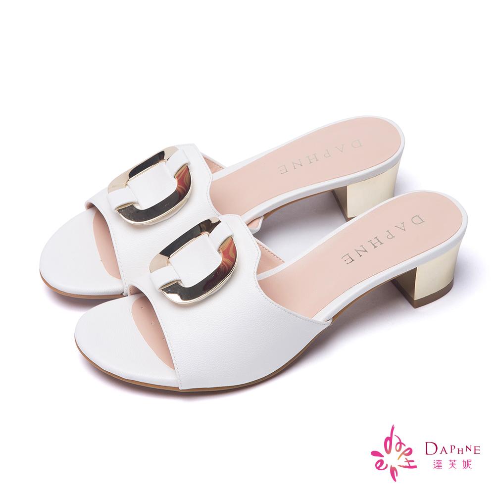 達芙妮DAPHNE 摩登名媛方型鑲飾粗跟涼鞋-百搭白