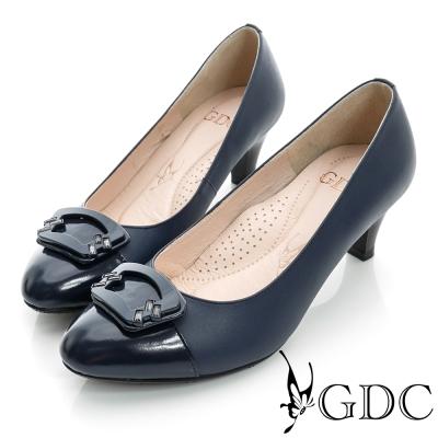 GDC典雅-扇形亮面飾扣真皮中跟鞋-藍色
