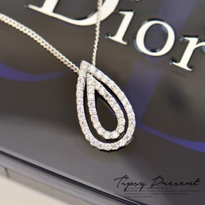 微醺禮物 鋯石 925銀鍍白金 璀璨水滴鋯石 項鍊
