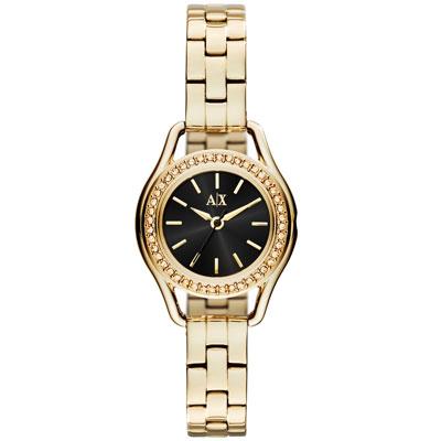 A|X Armani Exchange 經典復古貴氣都市晶鑽腕錶-黑X金/30mm