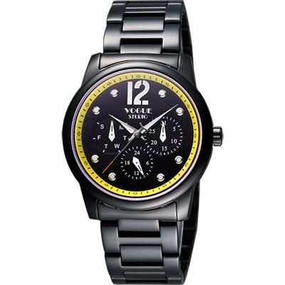 VOGUE 都會時尚藍寶石日曆腕錶-IP黑x黃/38mm