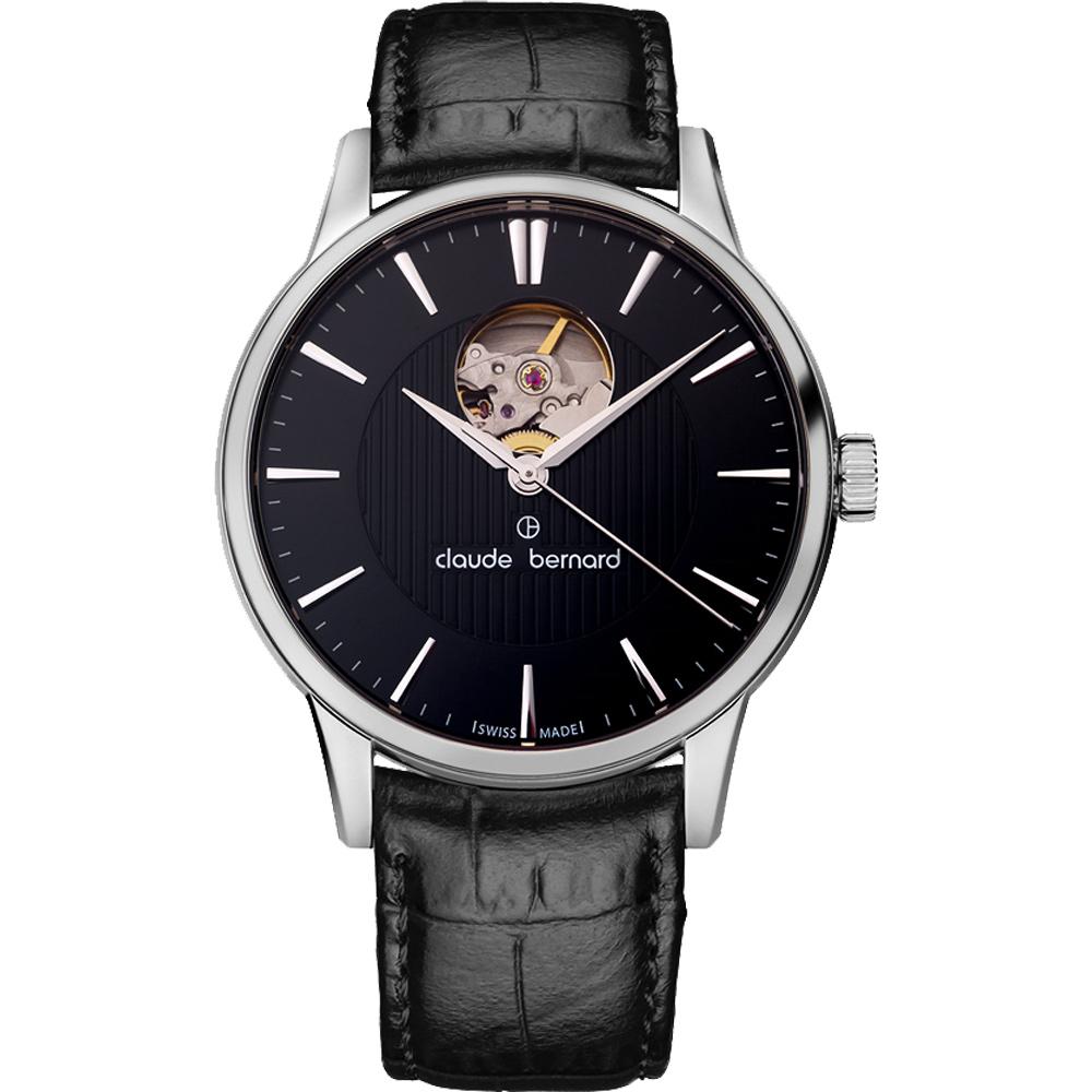 Claude Bernard Classic 系列鏤空機械腕錶-黑/40mm