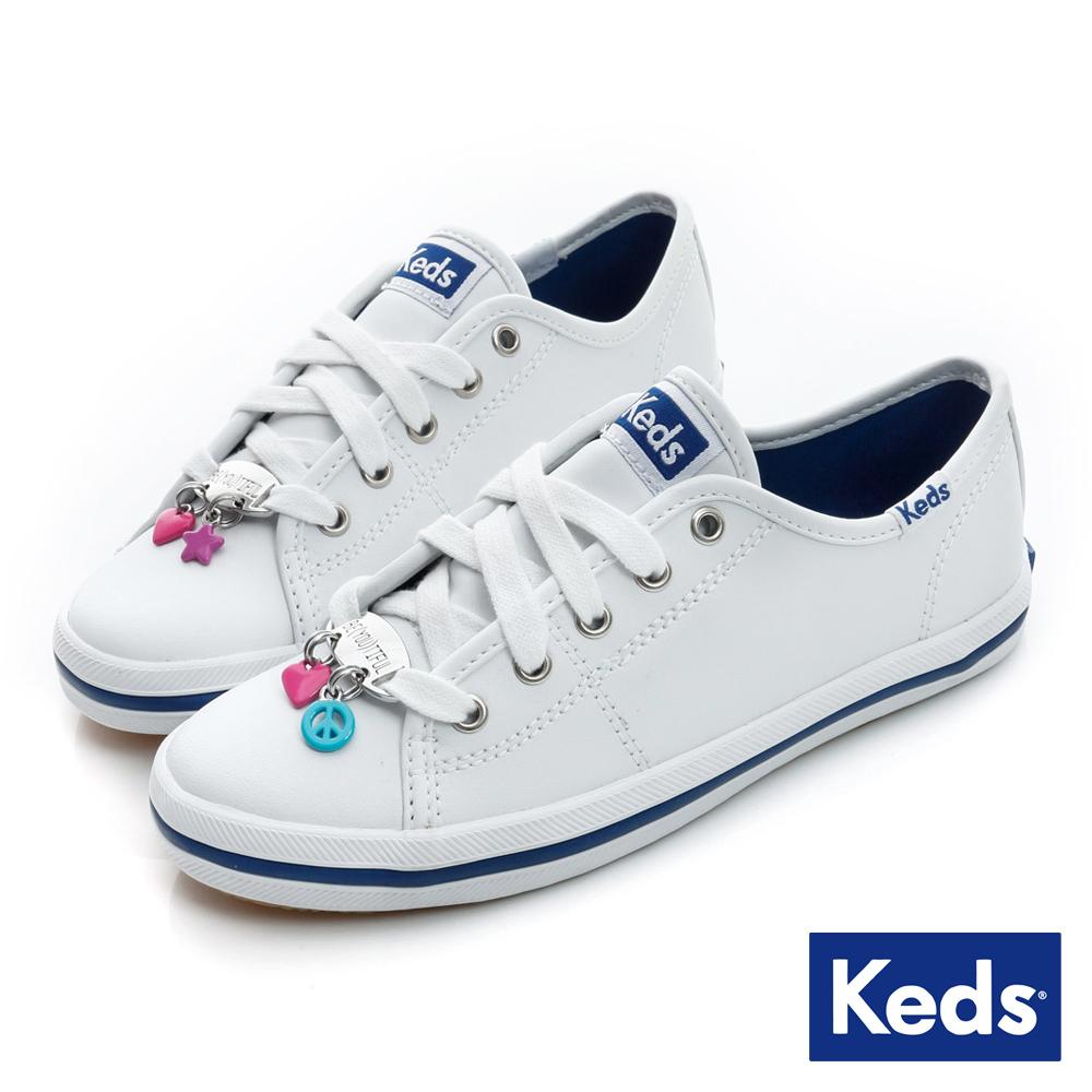 Keds童鞋系列之品牌經典皮質休閒鞋-白色
