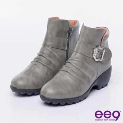 ee9 MIT經典手工~簡約優雅俐落自然抓皺晶鑽飾扣繫帶百搭短靴-灰色