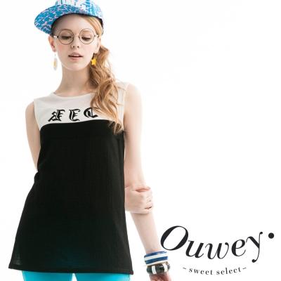 OUWEY歐薇 英文字母黑白個性背心