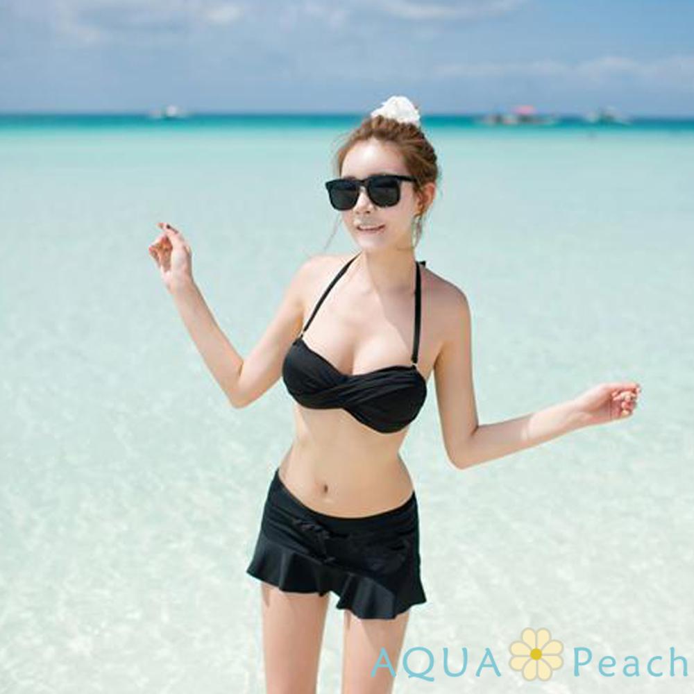 繞頸綁帶扭轉比基尼兩件式泳裝 (黑色)-AQUA Peach