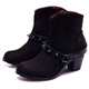 G.Ms.溫暖魅力-螺絲釘皮帶繞踝拉鏈粗跟短靴-注目黑 product thumbnail 1