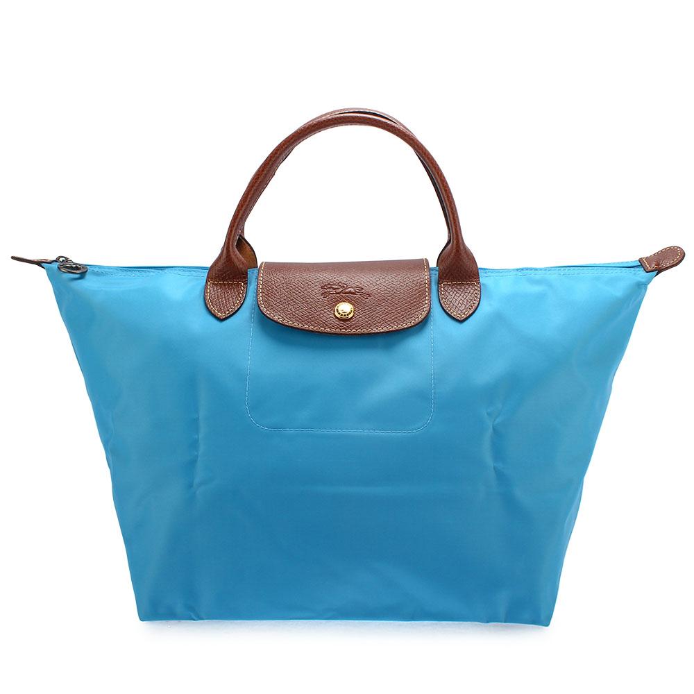 Longchamp 折疊中型短把水餃包-蔚藍色