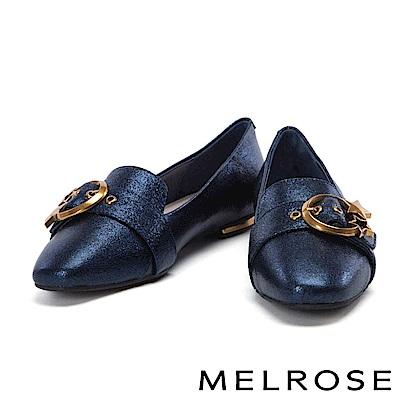 平底鞋 MELROSE 金屬星星圓釦啞光牛皮尖頭平底鞋-藍