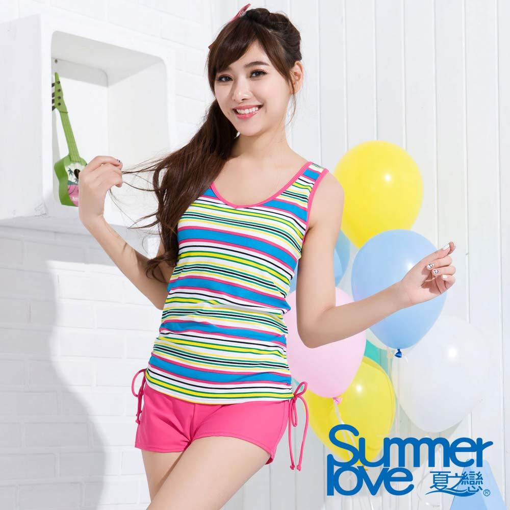 夏之戀TRAVEL FOX 彩色條紋長版三件式泳衣