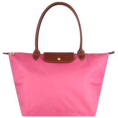 Longchamp 長背帶折疊水餃包(牡丹粉色/大)