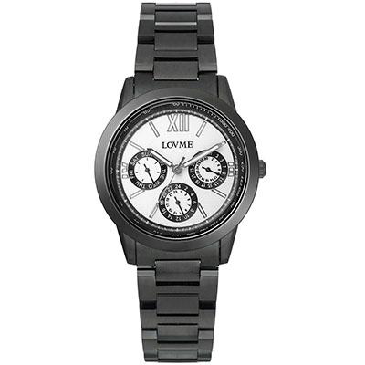 LOVME 極品時尚三眼腕錶-IP黑x黑圈/35mm