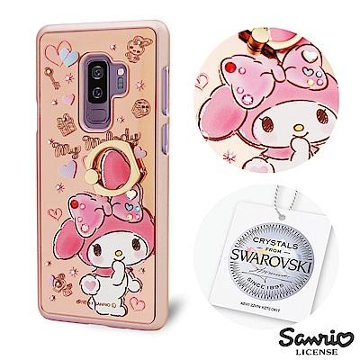 三麗鷗 Samsung Galaxy S9+施華彩鑽鏡面指環扣手機殼-微笑美樂蒂