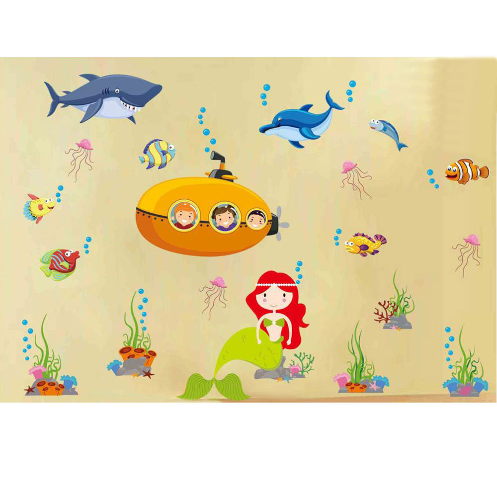 A-146手繪動物系列 海底美人魚 大尺寸高級創意壁貼  牆貼
