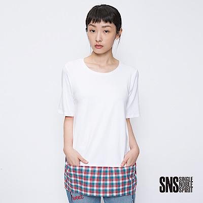 SNS 玩味空間圓弧拼接格紋設計上衣(2色)