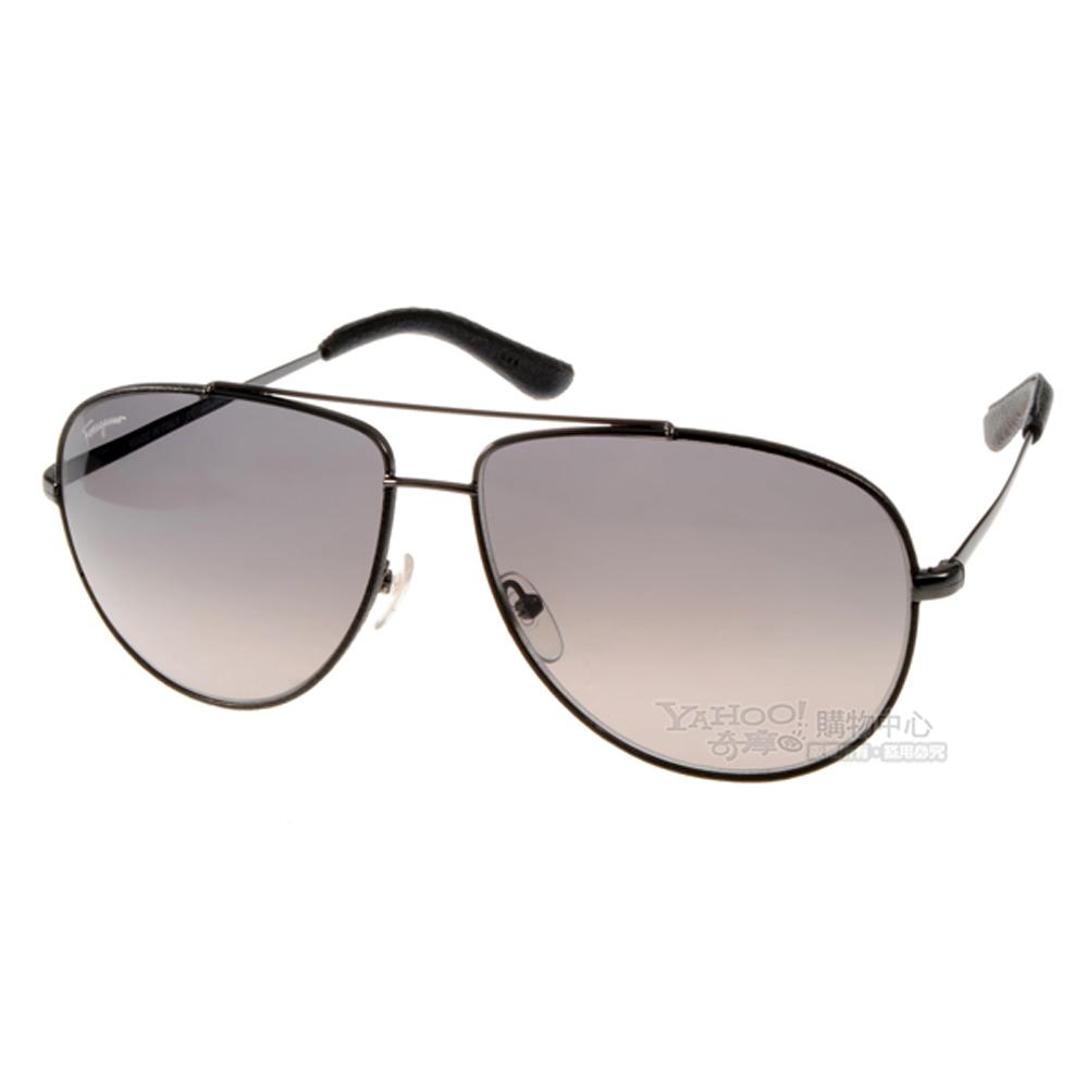 Salvatore Ferragamo太陽眼鏡 皮革飛官款/銀-黑#SF104SL 037