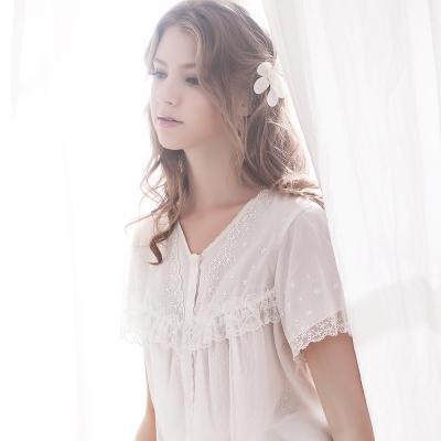 羅絲美睡衣 - 春之旋律浪漫蕾絲短袖褲裝睡衣 (純真白)