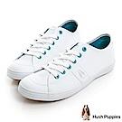 Hush Puppies 經典皮質咖啡紗休閒鞋-白色