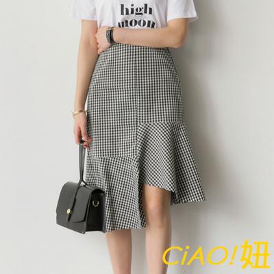 後彈性腰不規則魚尾裙 (格紋)-CIAO妞