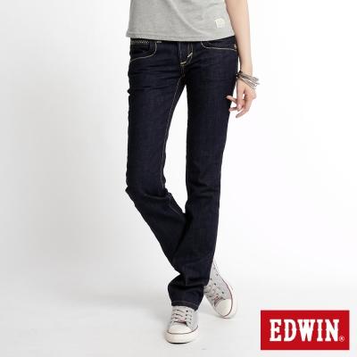 EDWIN BLUE TRIP袋蓋中直筒牛仔褲-女-原藍色