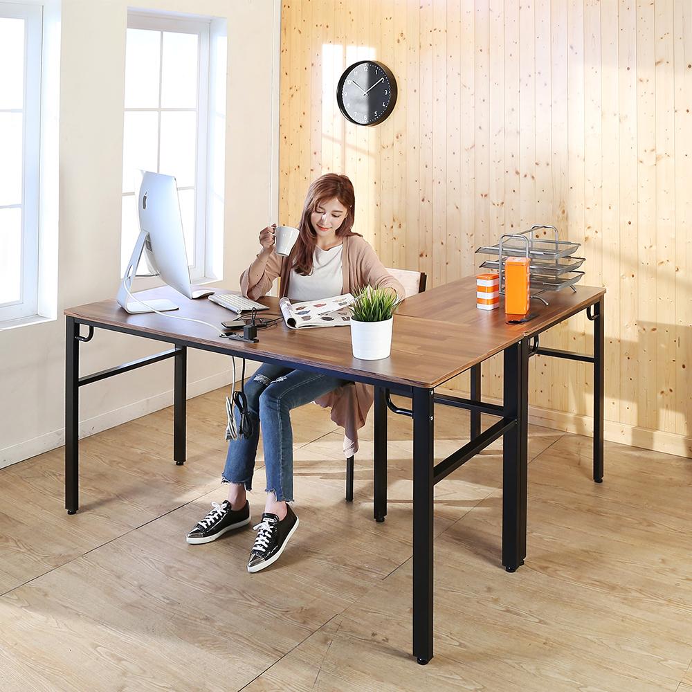 BuyJM工業風低甲醛防潑水L型160+80公分附插座工作桌-DIY