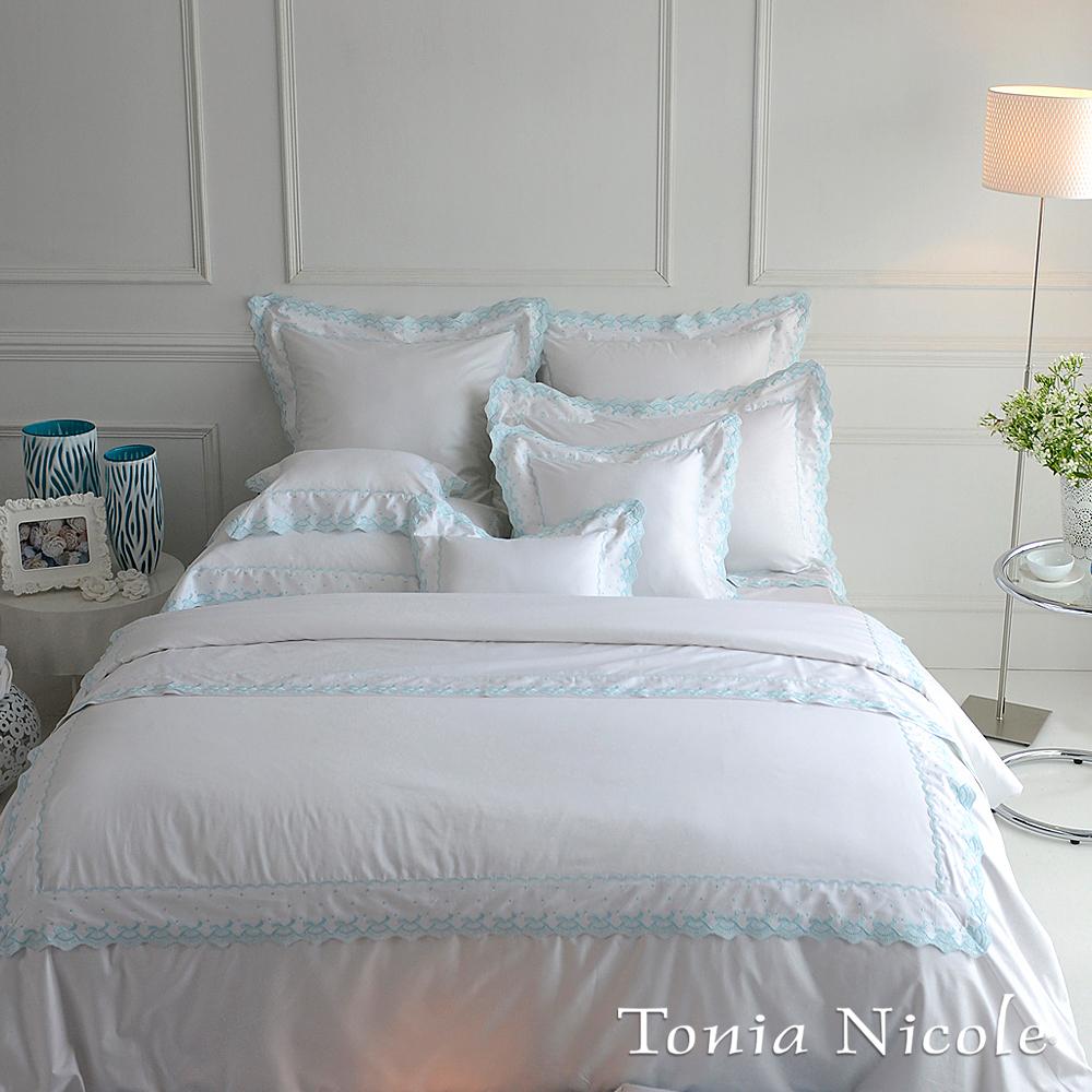 東妮寢飾☆蘭姆蕾森(薄荷藍)☆美國高紗支精梳細綿被套床包組(加大)