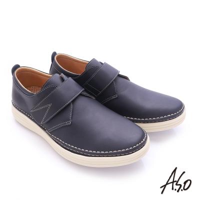 A.S.O 奈米健康氣墊 臘感牛皮魔鬼氈素面健走休閒鞋 深藍色